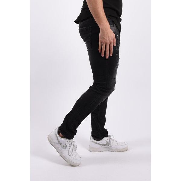 "Y Skinny fit stretch jeans ""romano"" Black red white splashes"