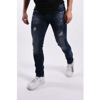 """Y Skinny fit stretch jeans """"romano"""" Dark Blue white / green splashes"""