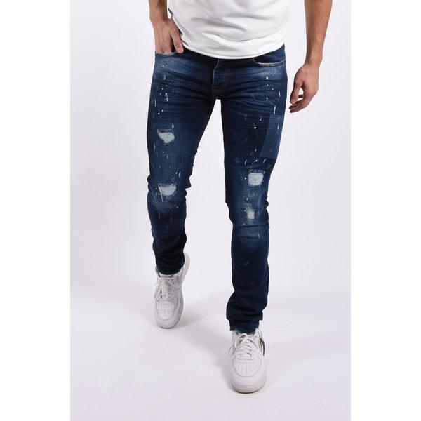 "Y Skinny fit stretch jeans ""romano"" Dark Blue red white splashes"