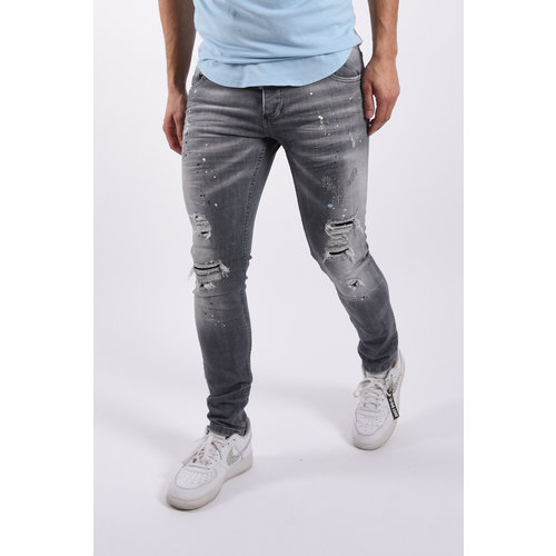 "Y Skinny fit stretch jeans  ""morgan"" Grey splashed"