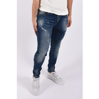 """Y Skinny fit stretch jeans """"colin"""" Blue / green white splashes"""