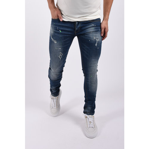 "Y Skinny fit stretch jeans ""colin"" Blue / green white splashes"