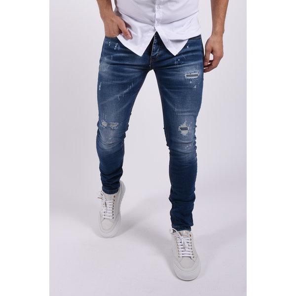 "Y Skinny fit stretch jeans  ""colin"" Blue slightly splashed"