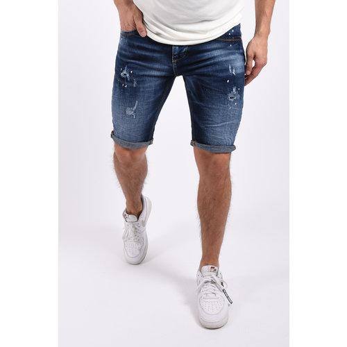 """Y Jeans stretch shorts """"dale"""" Dark Blue / white splashes"""