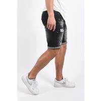 """Y Jeans stretch shorts """"jamez"""" Black with green splashes"""
