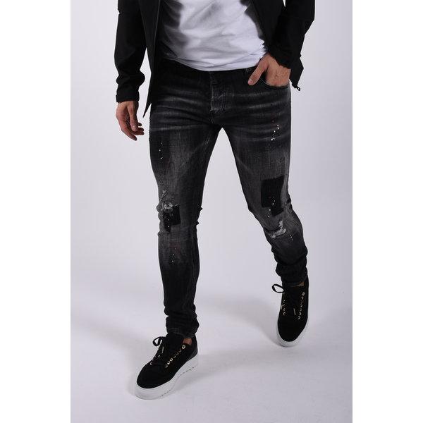 "Y Skinny fit stretch jeans ""odin"" Black washed / splashed"