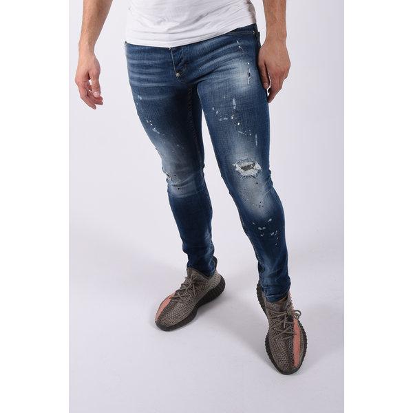 "Y Skinny fit stretch jeans ""odin"" Blue washed / splashed"