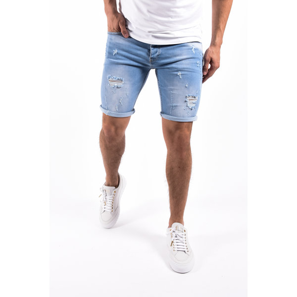 "Y Jeans stretch shorts ""troy"" Light Blue destroyed"