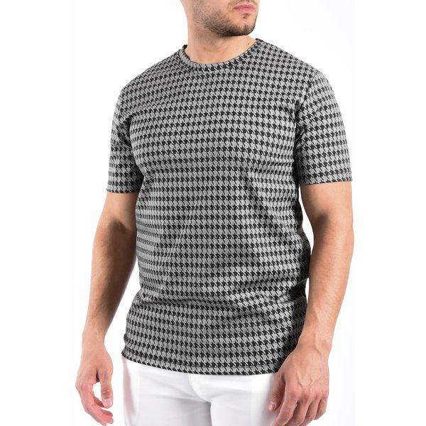 Y T-Shirt pied de poule Grey