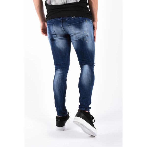 """Y Skinny fit stretch jeans """"odin"""" Blue washed / Yellow splashes"""