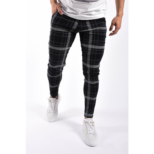Y Stretch pantalon checkered Dark blue