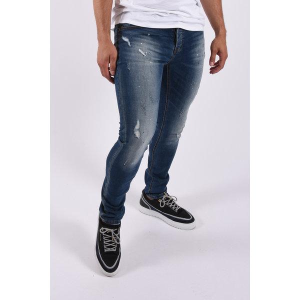 "Y Skinny fit stretch jeans ""colin"" Blue / white black splashed"