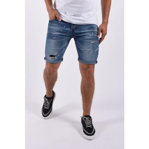 "Y Jeans stretch shorts ""claude"" Blue splashed"