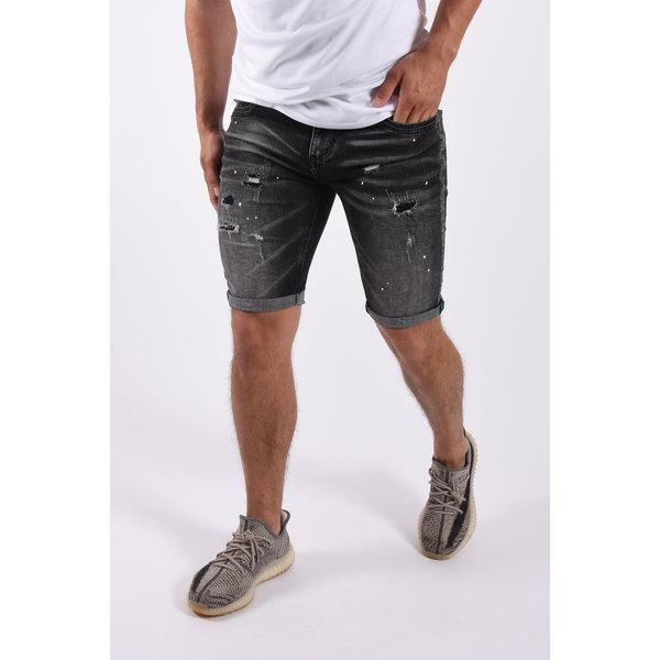 """Y Jeans stretch shorts """"dale"""" Black  white splashes"""
