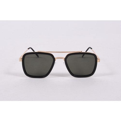"Y Zonnebril / Sunglasses ""squared"" Green  Black/Gold"
