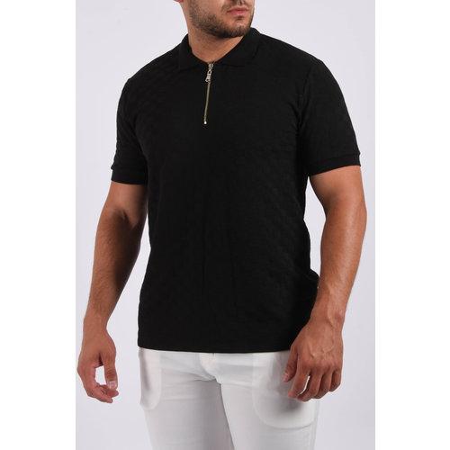 "Y Polo zipper ""squared"" Black"