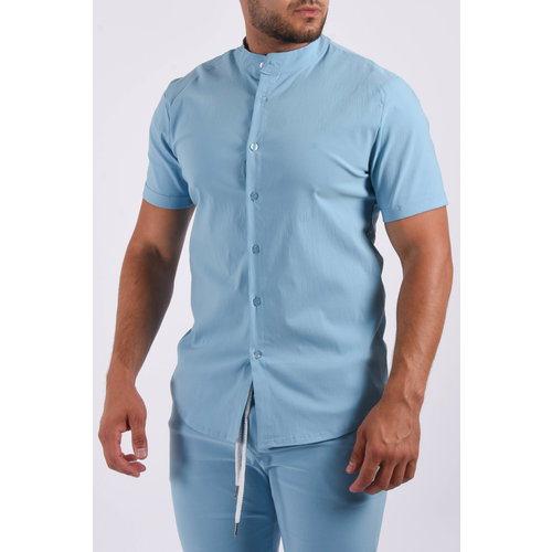 Y Short sleeve stretch blouse Light Blue