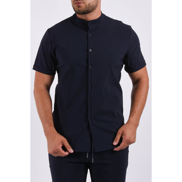 Y Short sleeve stretch blouse Navy