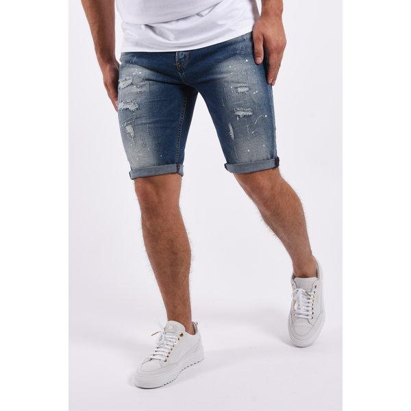 "Y Jeans stretch shorts ""ace"" Blue white splashes"