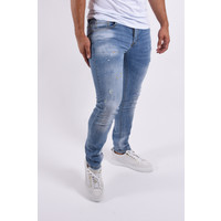 """Y Skinny fit stretch jeans """"colin 2.0"""" Light Blue yellow splashes"""