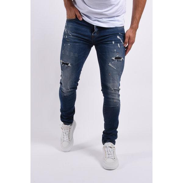 "Y Skinny fit stretch jeans ""colin 2.0"" Dark Blue yellow splashes"
