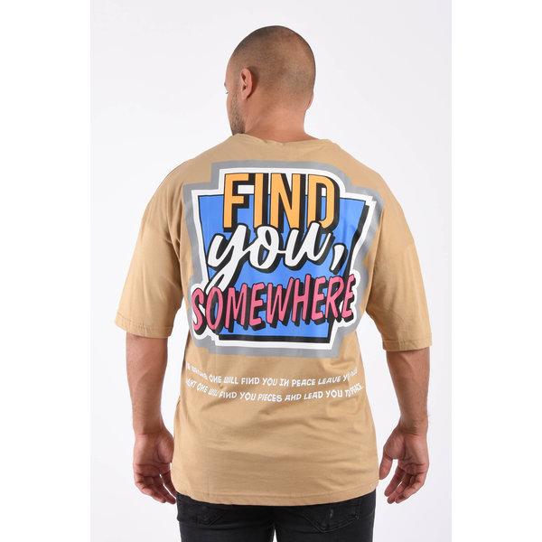 "Y T-shirt ""find you"" unisex loose fit Beige"