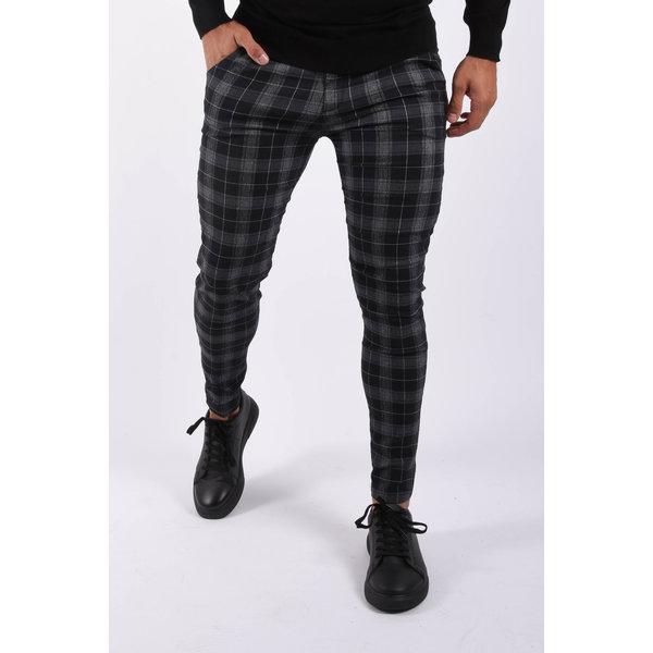 Y Stretch pantalon checkered Black