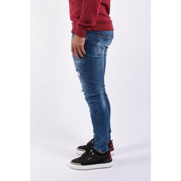 "Y Skinny fit stretch jeans ""marek"" Blue white / red splashes"