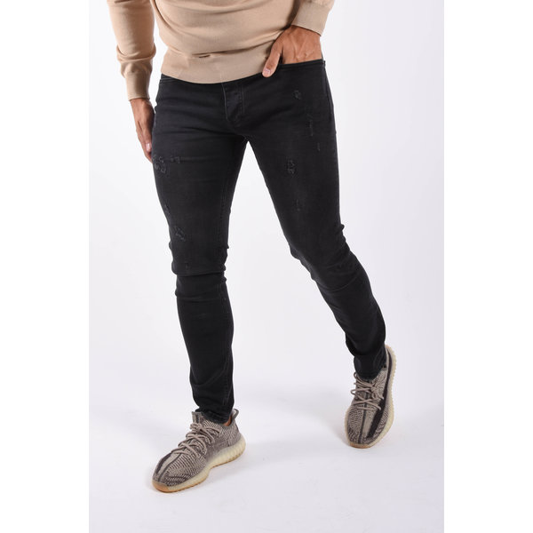 "Y Skinny fit stretch jeans ""kareem"" Black damaged"