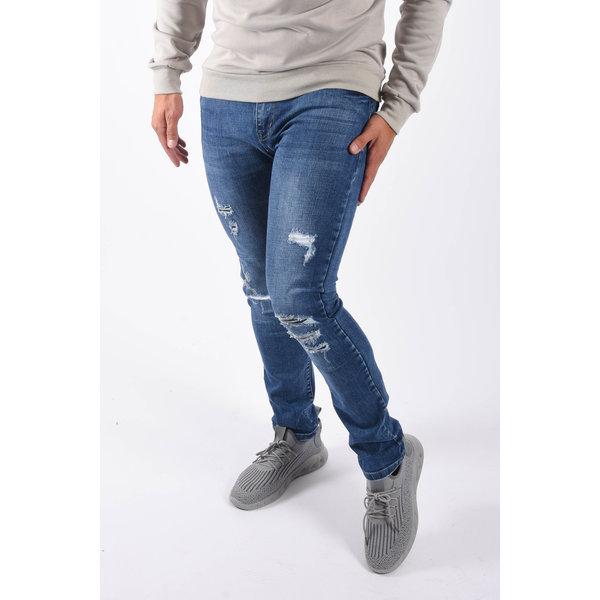 """Y Skinny fit stretch jeans """"edo"""" Blue damaged"""