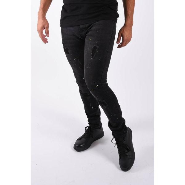 """Y Skinny fit stretch jeans """"edo"""" Black white / yellow splashes"""