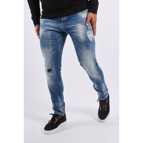 "Y Skinny fit stretch jeans ""morgan"" Blue washed orange splashes"