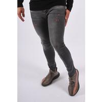 "Y UP 565 Skinny fit stretch jeans ""nigel"" Dark Grey orange splashes"