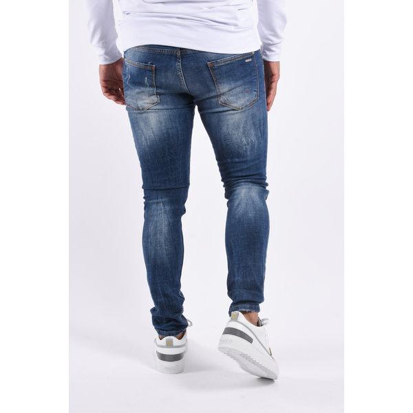 "Y Skinny fit stretch jeans ""nigel"" Blue washed red splashes"