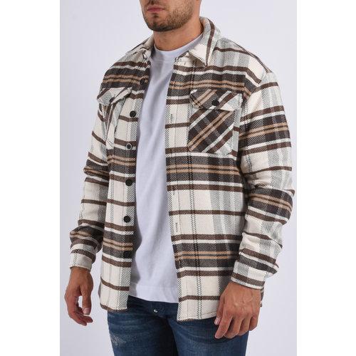 "Y Flannel jacket unisex ""marley"" Brown / White"