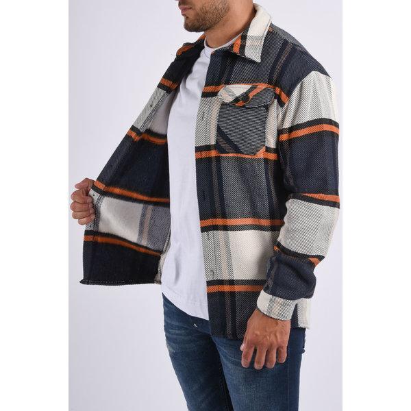 "Y Flannel jacket unisex ""marley"" Blue / Orange"