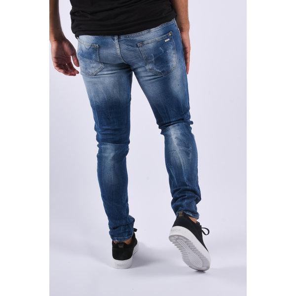 "Y Skinny fit stretch jeans ""ayke"" Blue washed black splashes"