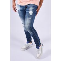 "Y Skinny fit stretch jeans ""rogan"" Blue pink splashes"