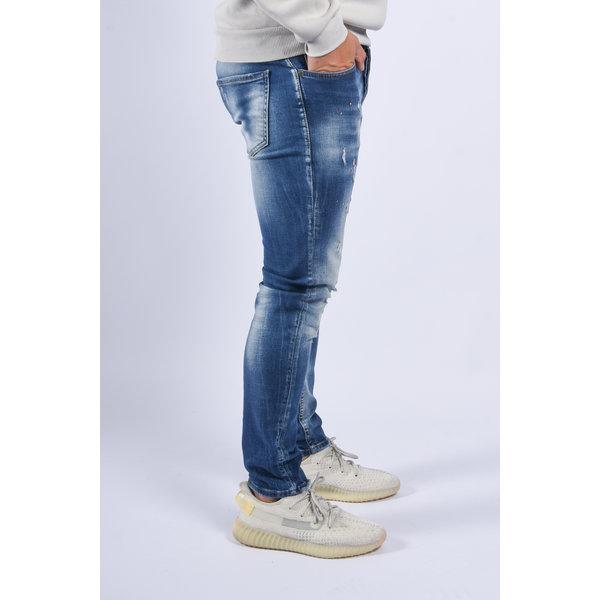"Y Skinny fit stretch jeans ""drew"" Blue red / yellow splashes"
