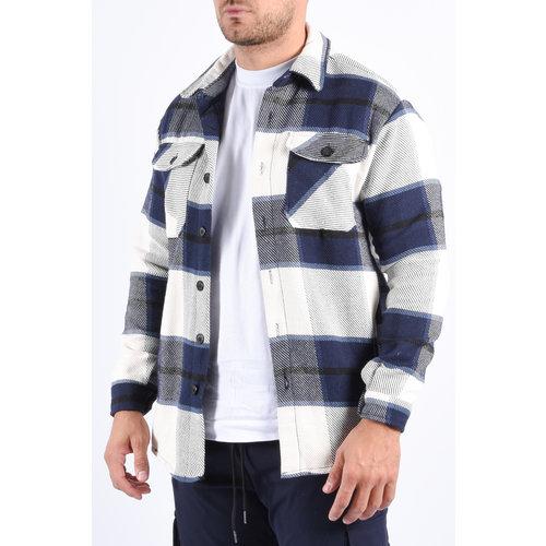 "Y Flannel jacket unisex ""marley"" Blue / White"