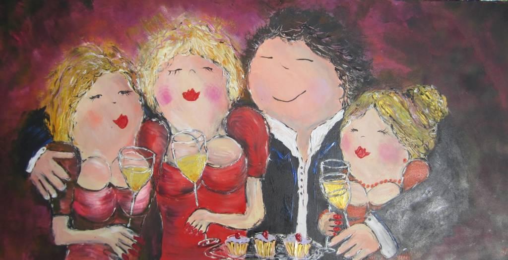FEELGOOD schilderijen & producten Schilderij 'Happy together' (rood)