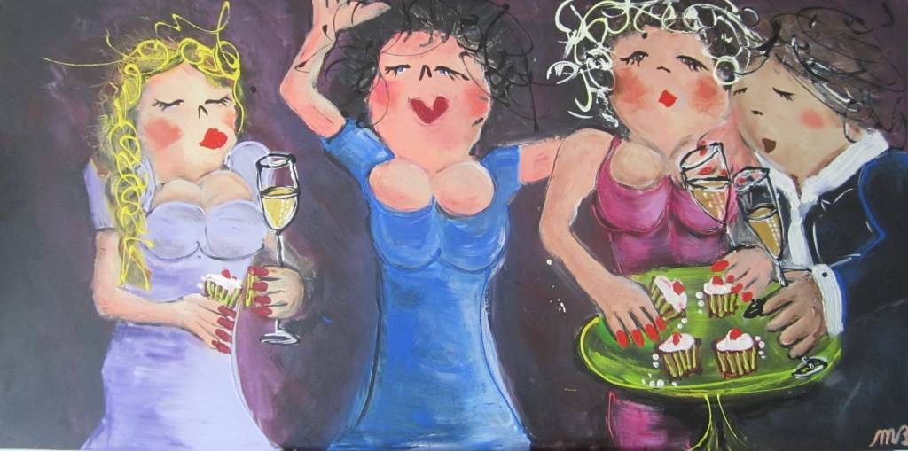 FEELGOOD schilderijen & producten Schilderij 'Bubbels & cake'