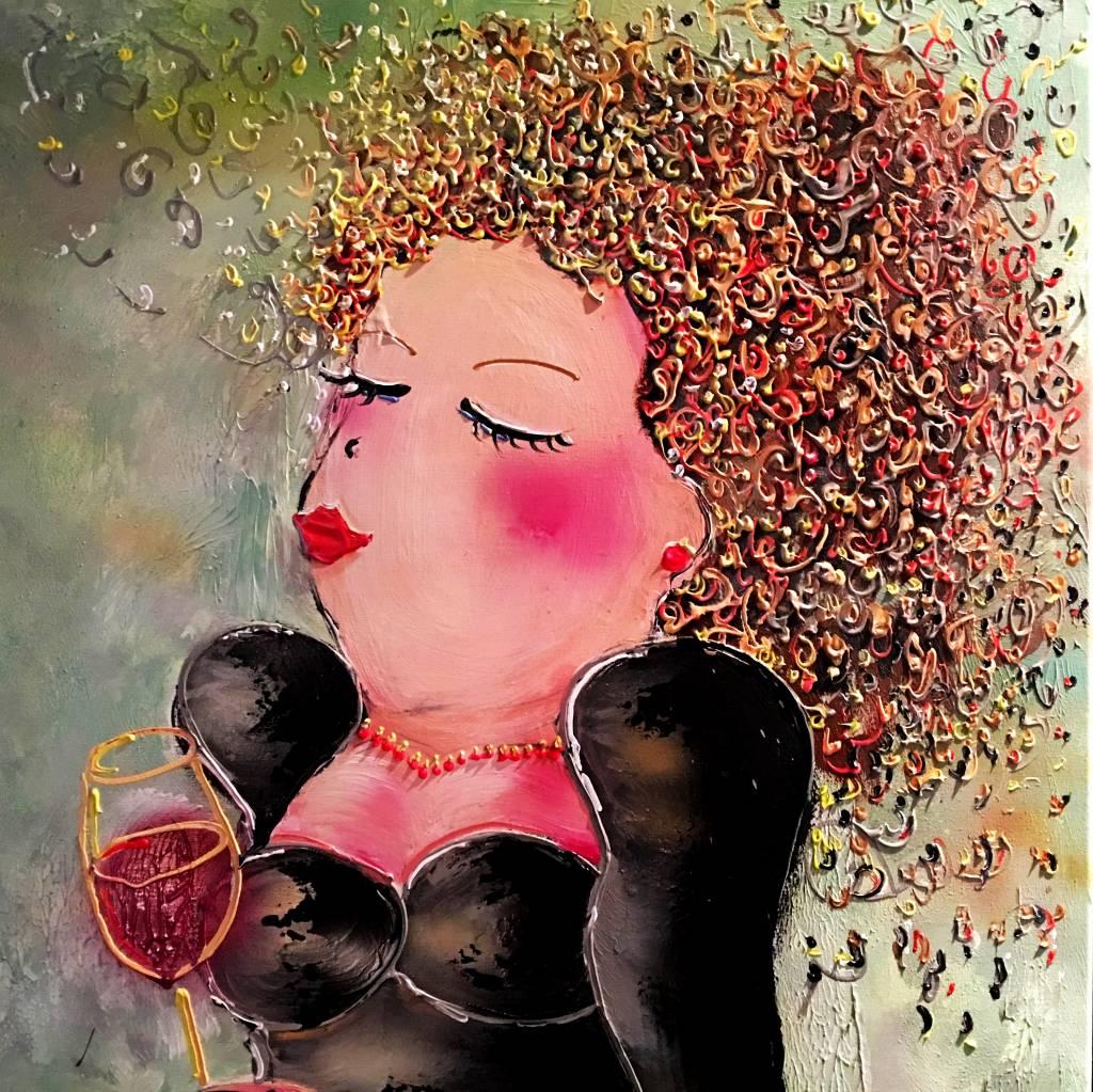 FEELGOOD schilderijen & producten Kaart 'RED WINE' 148 x 148 mm