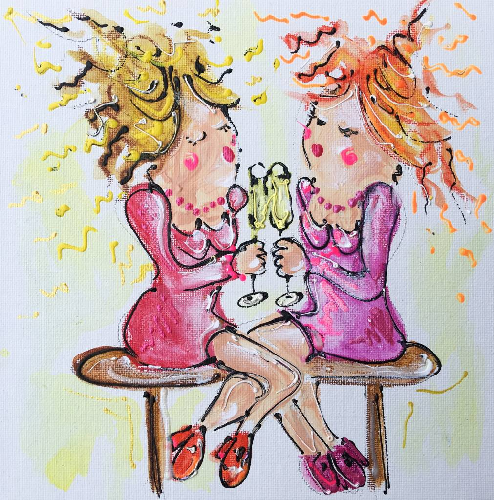 FEELGOOD schilderijen & producten kaart 'BESTIES' 148 x 148 mm