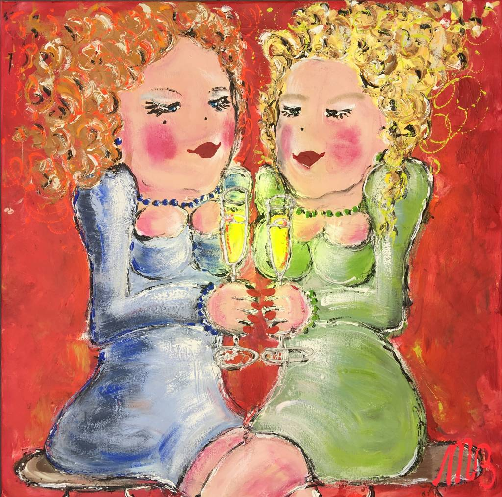 FEELGOOD schilderijen & producten Schilderij 'Drinking white wine in the yellow sun'