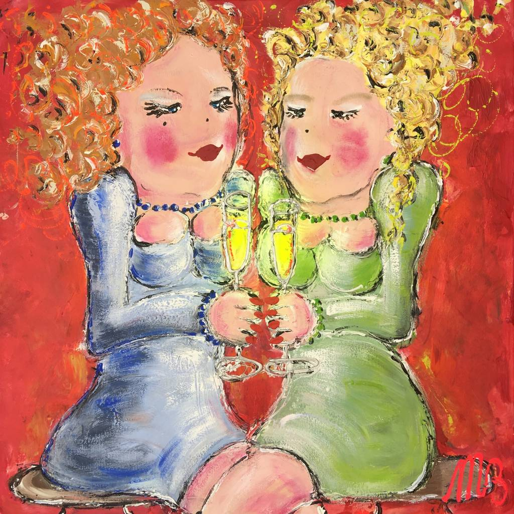 FEELGOOD schilderijen & producten Poster 'Drinking white wine in the yellow sun'