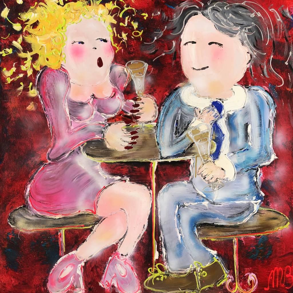 FEELGOOD schilderijen & producten Schilderij op voorraad 'Friday night' 100 x 100 x 2  cm
