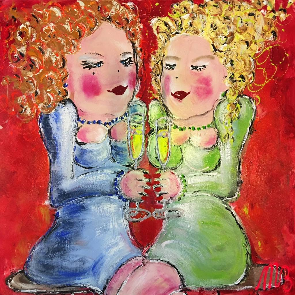 FEELGOOD schilderijen & producten Schilderij op voorraad 'Drinking white wine in the yellow sun'