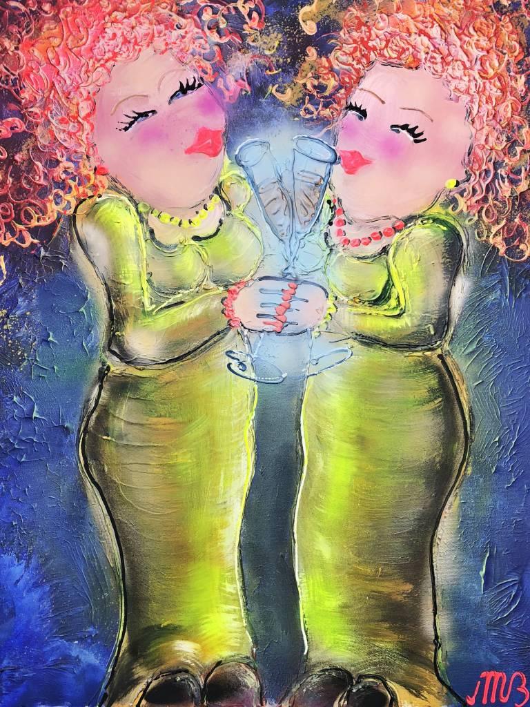 FEELGOOD schilderijen & producten Schilderij  op voorraad 'Friends' 60 x 80 x 4 cm