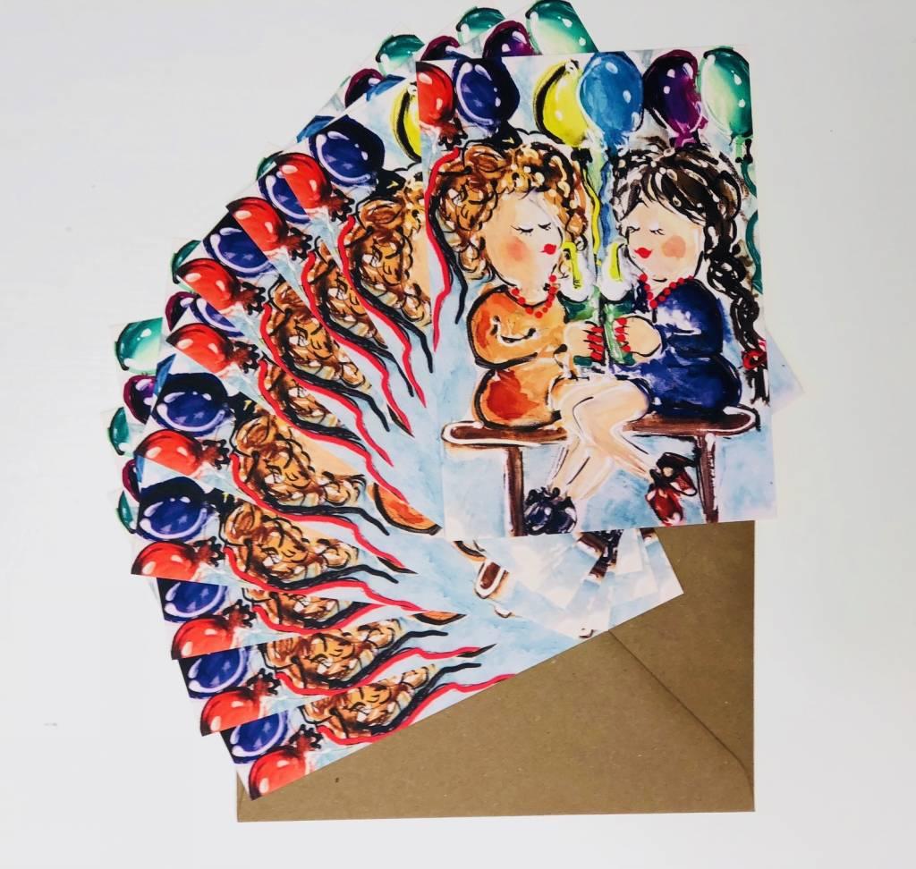 FEELGOOD schilderijen & producten Set van 10 feest kaarten 'Tis feest'